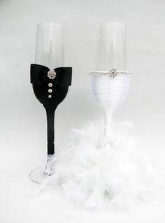 Hand Decorated Champagne Glasses  Handmade by HANDMADEONLYFORYOU