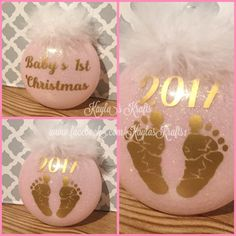 Baby's first Christmas -made by Kayla's Krafts, order and follow at www.facebook.com/KaylasKrafts1 and follow on Instagram @KaylasKrafts1 Christmas Makes, First Christmas, Christmas Bulbs, Wine Glass, Holiday Decor, Tableware, Instagram, Home Decor, Facebook