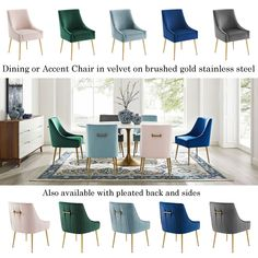 Discern Dining or Accent Chairs in lush velvet brushed gold stainless steel. Find Furniture, Dining Furniture, Modern Furniture, Dining Chairs, Ergonomic Office Chair, Mid Century Furniture, Lush, Accent Chairs, Handle