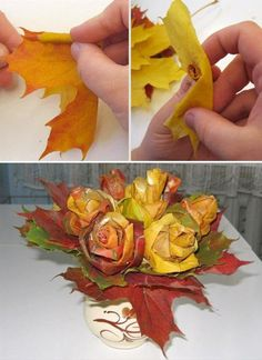 Maple Leaf Roses.  A maple leaf bouquet of flowers will leave everyone in Awww! Or, just make a single rose to give to your sweetheart; a simple yet creative gesture.