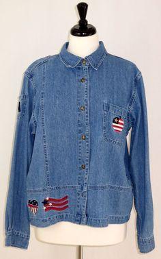 Patriotic Jean Denim Jacket Red White Blue Christopher Banks Womens XL #ChristopherBanks #JeanJacket