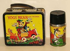 Yogi Bear and Friends Vintage Lunch Box  Thermos  (1961 Vintage Metal Lunchbox)