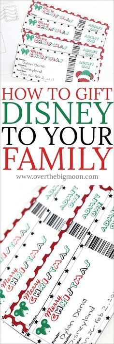 How to Gift Disney to Your Family with Printable Tickets + Southern California Vacation Giveaway How to Gift Disneyland or Disneyworld to your Family! These printable tickets are fun and easy!