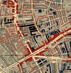 Booth's map of Whitechapel, a detail from the London Poverty Map, showing areas of poverty and affluence, 1898