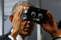 PsBattle: President Barack Obama looking at something in Virtual Reality with googly eyes!