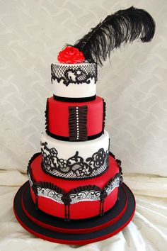 Red, black, and white Moulin Rouge cake