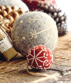 Trim a tree or adorn a mantle top with our delightful Felt Snowflake Ball Ornaments. Handmade from boiled wool felt and available in red or gray with cream embroidered details. Set includes one each o Felt Christmas Ornaments, Noel Christmas, Ball Ornaments, Handmade Christmas, Christmas Decorations, Diy Ornaments, Christmas Nativity, Beaded Ornaments, Felt Crafts