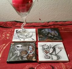 4 nightmare before christmas, jack & sally, ceramic drink coasters tim burton in Home & Garden | eBay