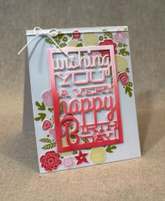 PTI Text Block Birthday die: Lizzie used watercolors here (using a Berry Sorbet reinke) and clear cardstock. (Don't Forget To Write - Lizzie Jones)