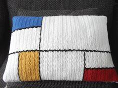 Crochet pillow cover Mondriaan handmade 18x12 crochet