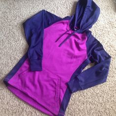 Nike Purple and Navy Therma-fit jacket Please don't be afraid to bargain!  Purple and Navy jacket, good for running on cold mornings, comfortable lining on the inside, rarely used because it is too small on me, perfect for anyone Nike Jackets & Coats