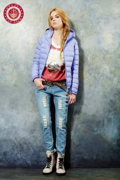 Womens Fashion High Quality Winter Candy Colors Hooded White Duck Down Coat Purple Parka Outwear