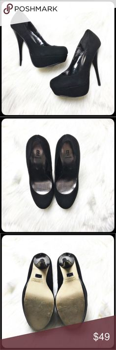 "Bakers Stiletto Style Heels Gorgeous black suede platform style patent heels.  Near perfect condition, worn once.  Very small unnoticeable scuff on heel.  If I hadn't disclosed you probably wouldn't notice.  Heels measures 5"" with a platform of 1 1/4"". Bakers Shoes Heels"