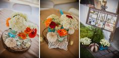 http://www.lanephotographyonline.com | Nashville Wedding Photographers | The Pick Inn | Whitney + Robby | wedding centerpiece, flowers, teal and orange wedding flowers, teal and orange ideas for wedding