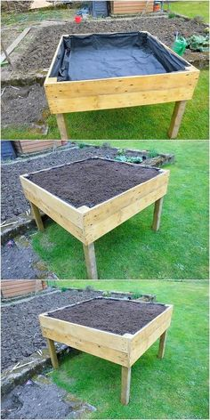 Read information on Upcycling Old Pallets palletwood palletsofa Pallets garden, Raised garden beds d Pallet Garden Box, Pallets Garden, Diy Garden, Garden Boxes, Garden Projects, Wood Pallets, Garden Frame, Garden Plants, Elevated Garden Beds