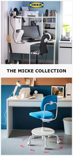 The MICKE desk collection. Stylish, versatile and designed to fit all spaces. White Desk Office, White Desks, Home Office Storage, Home Office Desks, Smart Home Ideas, White Craft Room, Micke Desk, Diy Home Interior, Small Floor Plans