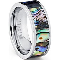 Pipe Cut Titanium Ring Band With Rainbow Rippled Abalone Inlay, Comfort Fit 8mm Sizes 7 to 12