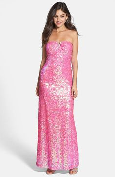'Naya' Sequin Strapless Gown (Juniors) http://picvpic.com/women-dresses-evening-formal-dresses/naya-sequin-strapless-gown-juniors#pink~pearl