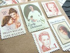 Literary Ladies   UNused Vintage Postage Stamps   by VerdeStudio, $6.50