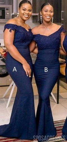 Mismatched Navy Blue Mermaid Long Bridesmaid Dresses Online, Cheap Bridesmaids Dresses, WG752 #bridesmaids #bridesmaiddress #bridesmaiddresses #dressesformaidofhonor #weddingparty… More