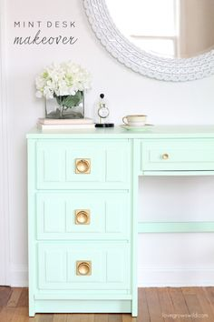 Mint desk makeover with gold hardware.