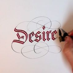 "Desire by the master - Seb Lester  SO amped on these ""scroll"" pens! They are hand modified pilot parallel pens. Apparently you can buy them here: http://www.johnnealbooks.com/prod_detail_list/s?keyword=Fp134"