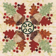 Blk # 8 Acorn Wreath for Baltimore Autumn quilt pattern by Pearl P. I like this pattern but I think it'd be prettier if the green was darker and the acorn would show up better then also Fall Applique, Applique Quilt Patterns, Quilting Projects, Quilting Designs, Quilting Ideas, Baltimore, Bee Fabric, Fabric Art, Quilt Border