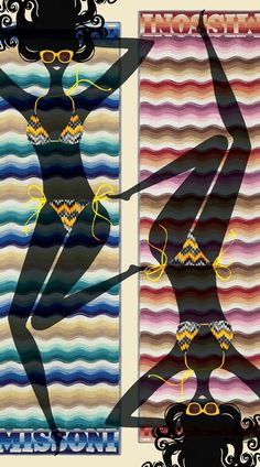 lesleybarnesfashion:  my last Glamour Horoscope illlustration! The August horoscope features two bathing beauties in Missoni