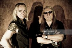 Bernie Shaw and Mick Box of Uriah Heep posed in studio on March 6, 2009 in London.