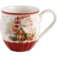 Villeroy & Boch Christmas porcelain mug (£24) ❤ liked on Polyvore featuring home, kitchen & dining, drinkware, xmas mugs, christmas drinkware, porcelain mugs and christmas mugs