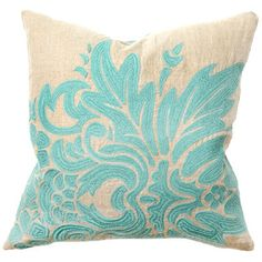Aqua embroidered pillow
