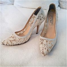 White Satin Lace Pumps  In very good condition, except there is a little damage to the heel. Says size 36 which is US 6. Made in Italy. Giambattista Valli Shoes Heels