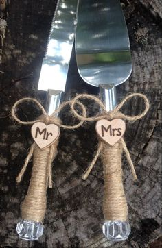 For SALE is a Beautiful wedding cake server. This SWEET set is silver with crystal handles wrapped in ~ jute string Each server is adorned with a