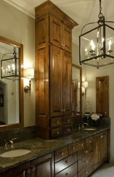 Love light for master bath and built in center cabinet