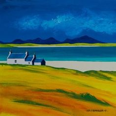 Uig hills and beach - art by Anthony Barber