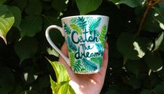 Catch the dream porcelain mug, Positive quote mugs, Green turquoise fern tea cup, Happy coffee mug, Hand painted plants, Botanical art, catch the dream, hand painted, fern art, handmade, hand painted, botanic art, coffee mug, porcelain art, garden love, plants art, coffee mug, tea cup, lovely cup, gift idea, best gift ideas, gift for her Happy Coffee, Coffee Mugs, Hand Painted Mugs, Boho Kitchen, Plant Art, Porcelain Mugs, Green Turquoise, Botanical Art, Gifts In A Mug