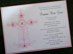 Girl Baptism-Communion Invitation with Decorative Stitched Cross