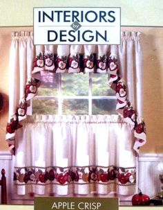 APPLE CRISP Red Green Kitchen Curtains Tiers Swag Valance Interiors By Design InteriorsbyDesign