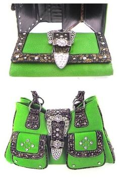 2 Piece Green Western Rhinestone Buckle Purse « Clothing Impulse