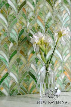 Margot, a jewel glass waterjet mosaic, is shown in Emerald.