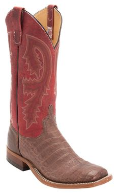 Anderson Bean® Men's Brown Caiman Belly with Red Top Double Welt Square Toe Western Boot