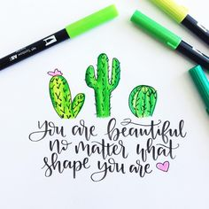 "1,012 Likes, 30 Comments - Amanda Kammarada HandLettering (@amandakammarada) on Instagram: ""And don't you ever think otherwise. #youarebeautiful"" #cute_crafts_quotes"