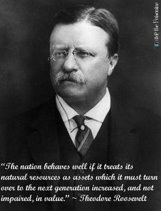 """""""The nation behaves well if it treats its natural resources as assets which it must turn over to the next generation increased, and not impaired, in value."""" ~ Theodore Roosevelt  #nature #future"""