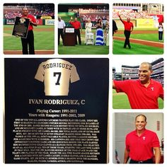 Pudge Rodriguez inducted into the Rangers Hall of Fame on Saturday, July 20, 2013.