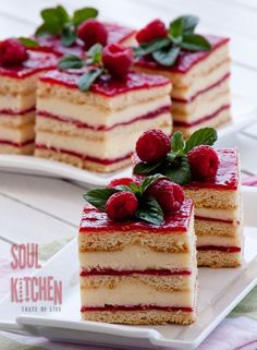 Vanilla Raspberry Cake - All Recipes Food Just Desserts, Delicious Desserts, Yummy Food, Gourmet Desserts, Plated Desserts, Yummy Yummy, Delish, Baking Recipes, Cake Recipes