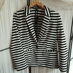 NEW Express Large B&W blazer High quality black and white blazer. All the stripes line up and the pockets are usable. Never worn. Express Jackets & Coats Blazers