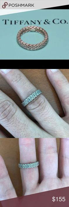 Tiffany & Co Narrow Somerset Mesh Ring Beautiful Solid Narrow Mesh Ring Size 5. Sterling Silver 925. Very Nice! Tiffany & Co. Jewelry Rings