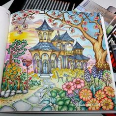romantic country coloring book finished pages - Yahoo Search Results
