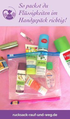 Handgepäck Packliste und Tipps für das Packen von Flüssigkeiten im Handgepäck im Flugzeug. Was darf mit ins Handgepäck, was nicht? Plus: Tipps für feste Alternativ-Produkte (statt flüssiger).