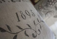 1895, AM Buttner Antique Grain Sack Cushion Cover